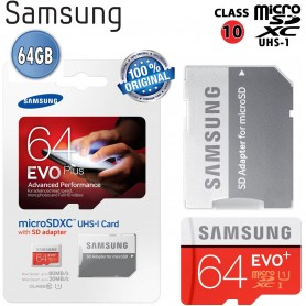 Micro SD + adapter EVO Plus 64 GB SDHC UHS 80MB/s - blister