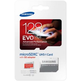 Micro SD + adapter EVO Plus 128 GB SDHC UHS 80MB/s - blister